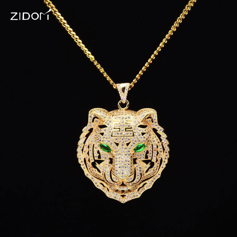 Men HipHop Iced Out Bling Tiger Pendant Necklaces CZ Zircon Copper Fashion Animal Shape Necklace Men Hip Hop Statement Jewelry
