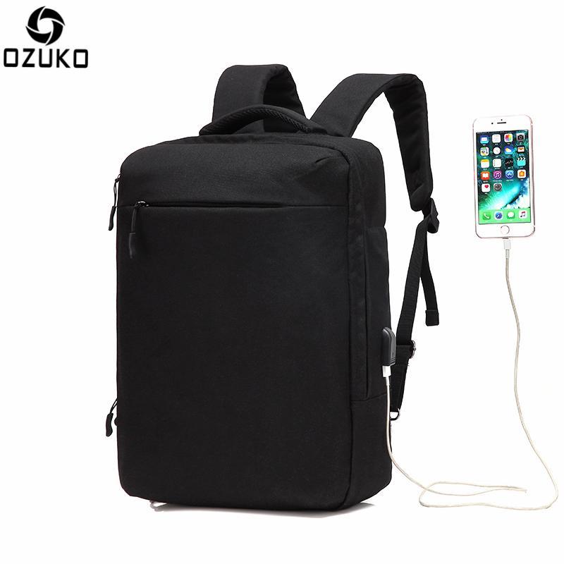 5bff4840b7e98 Großhandel Ozuko Multifunktionale Männer Rucksack Wasserdichte USB Lade  Computer Rucksäcke 15 Zoll Laptop Tasche Kreative Student Schultaschen 2018  Von ...