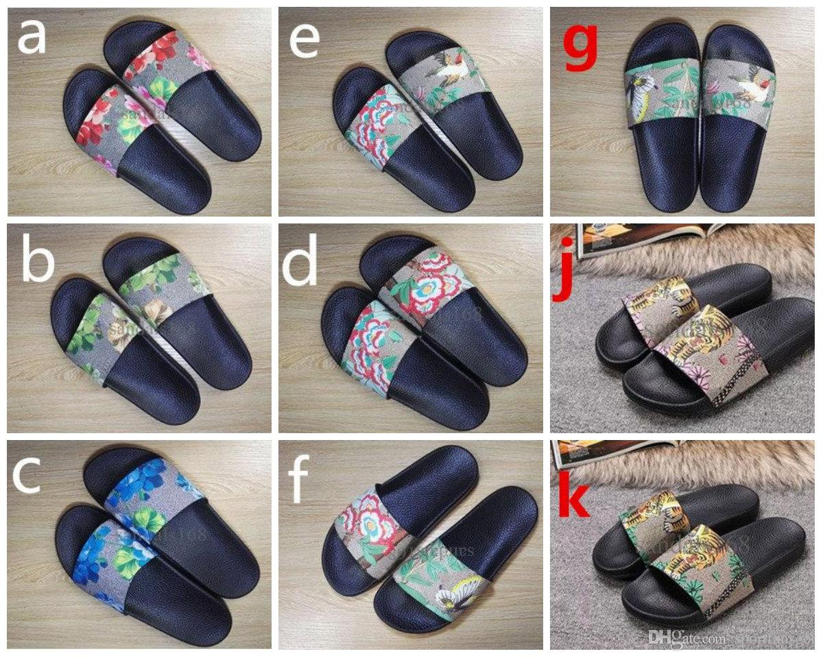 Eur35 46 Designer Sandals 2018 Men Women Fashion Tiger Printing Leather  Trek Slide Sandals Rubber Sole Summer Outdoor Beach Male Slippers Cheap  Shoes Wedge ... c83eed504a