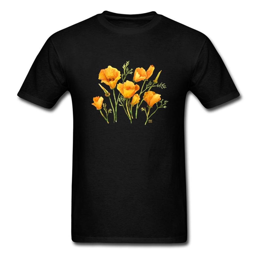 Aquarelle T Coquelicots Shirt Femme Noir En Fleur Top Gros Hommes Sweatshirts Californie Coton Vêtements Tshirt Imprimé 08nwNOkXP