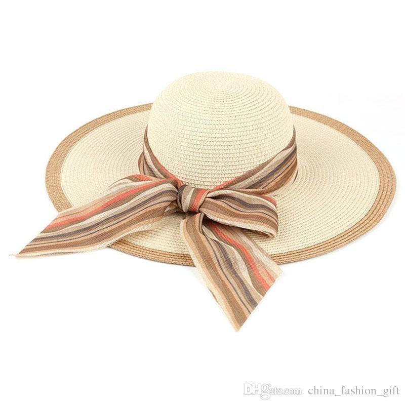 Large Floppy Hats Foldable Straw Hats Ribbon Boho Wide Brim Hats ... 32c148ebf5cd