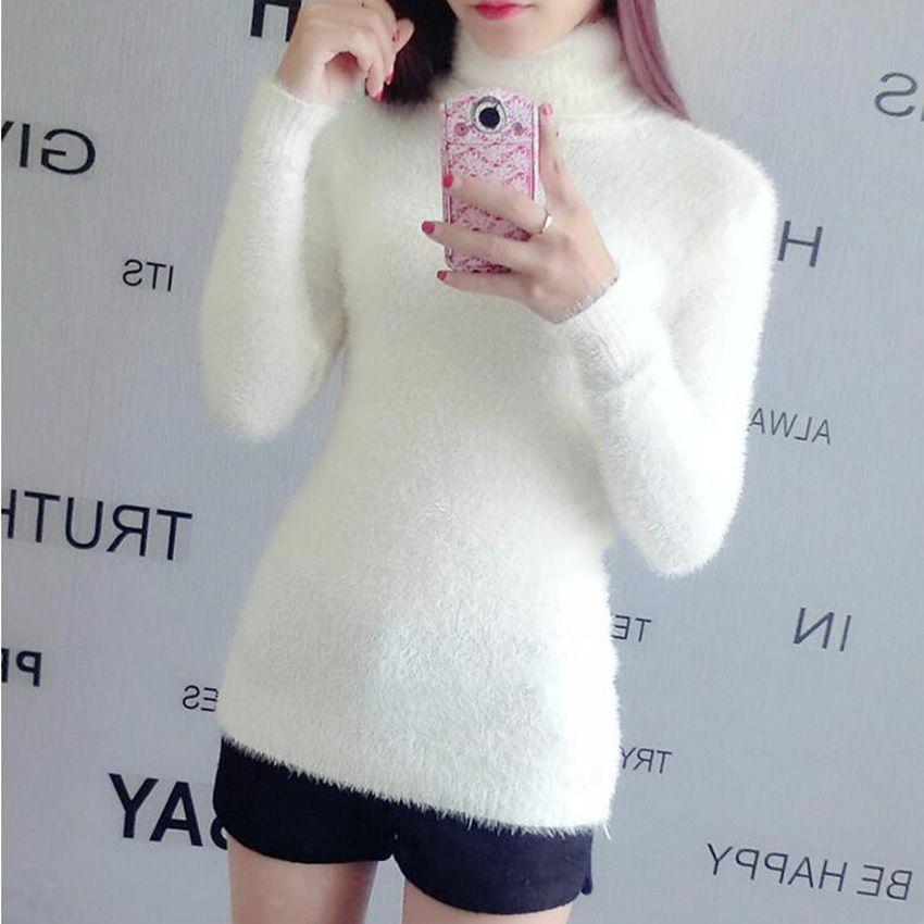 e24148e47b2 2019 Fall Winter Retro Lady Mohair Sweater Women Long Sleeve Turtleneck  Slim Warm Knitted Pullover Sweater Dress Female Jumper Femme From Honey333