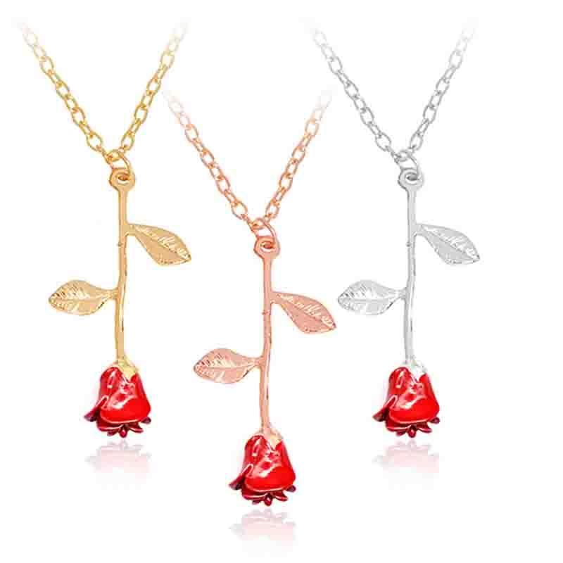 Acheter Email Rose Rose Fleur Collier Argent Rose Or Fleur Pendentif