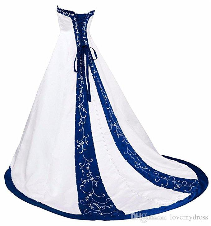 Royal Blue And White Wedding Dress Embroidery Princess Satin A line Lace up Back Court Train Sequins Beaded Long Cheap Wedding Gowns