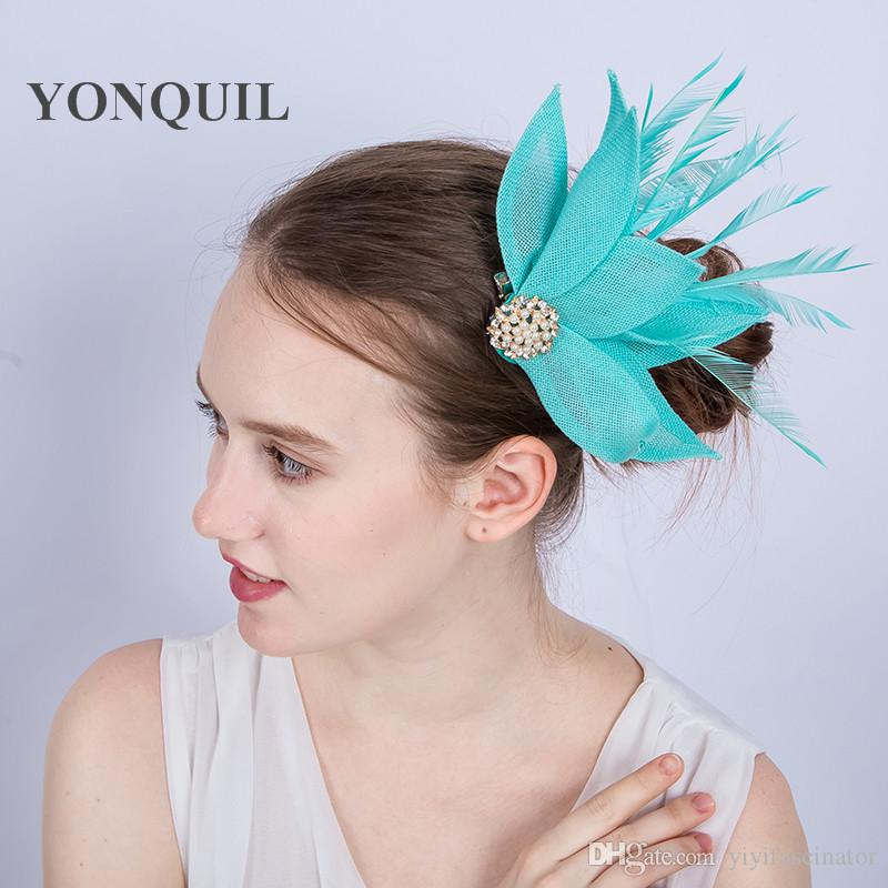 8f50984f29ecc NEW ARRIVAL Multicolors Nice Emerald Green Imitation Sinamay Fascinators Hat  With Feather For Kentucky Derby Wedding Party Race Event SYF150 Pillbox Hat  ...