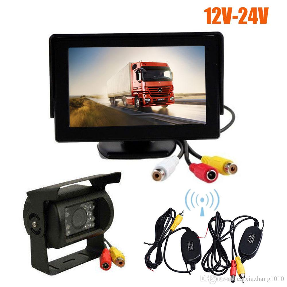 "Wireless 18 LED IR Night Vision Car Parking Reverse Backup Camera + 4.3"" LCD Monitor Car Rear View Kit 12V-24V"