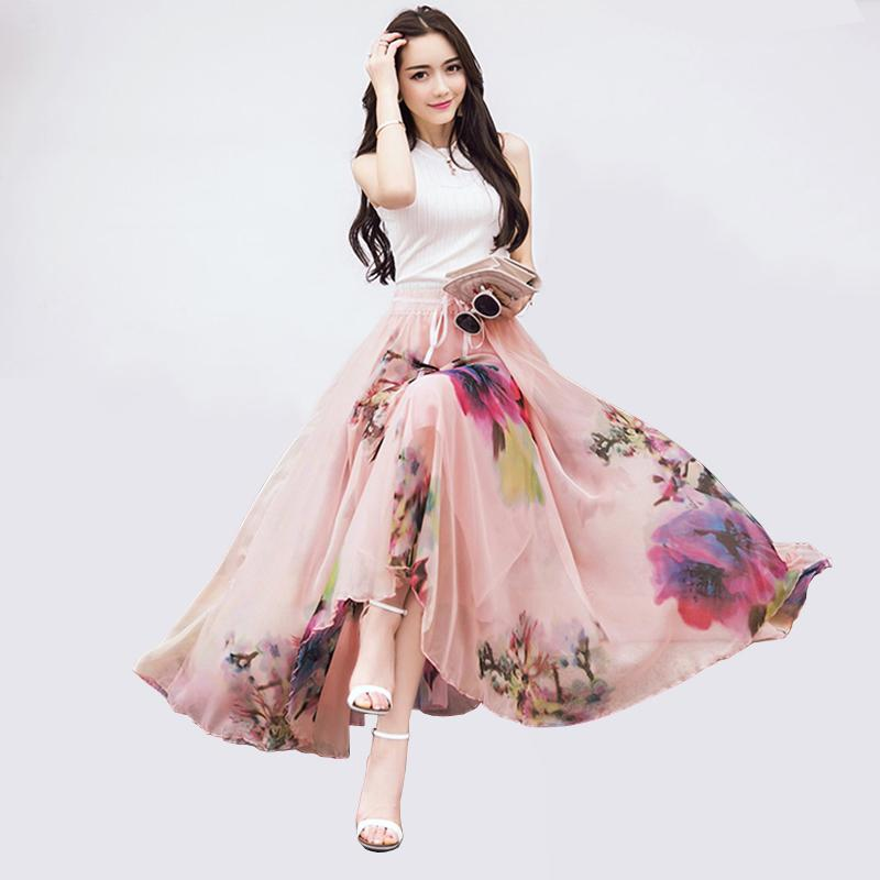 360f9c1aabc 2019 Hot Sell New Fashion Elastic Waist Casual Chiffon Skirt Summer  Bohemian Floral Print Beach Maxi Flower Long Skirt For Women S916 From  Ruiqi02