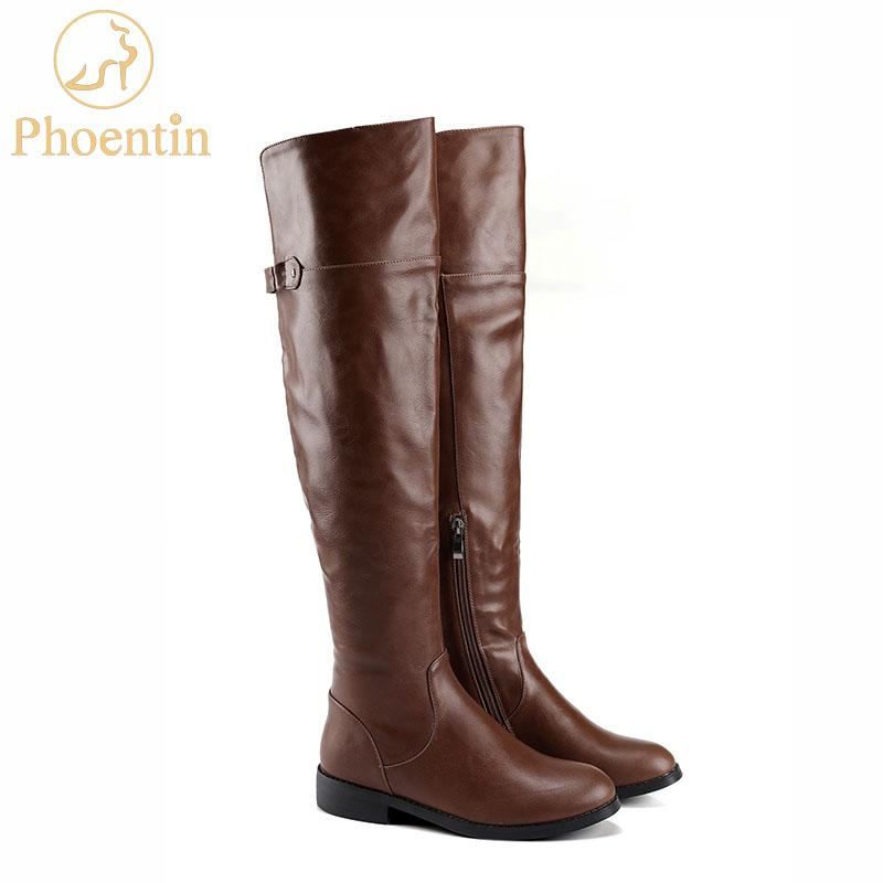 9b0efc84141 Phoentin Brown Ladies Riding Boots Side Zipper 2019 New Buckle Overknee  Boots Women Flat Low Heels Pu Leather Female Shoes FT563 Men Boots Red Boots  From ...