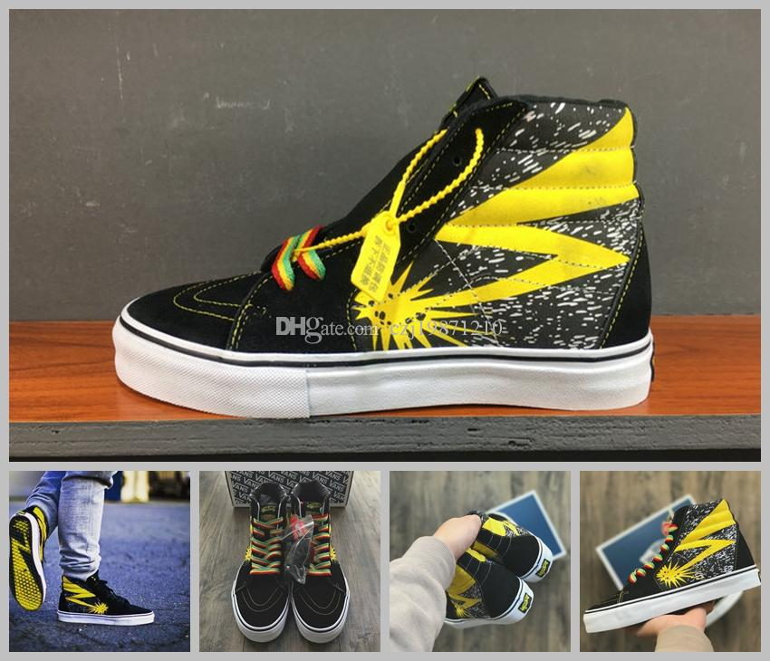 2018 Vault X Bad Brains Classic Sk8 Hi LX Old Skool Casual Canvas Running  Shoes Women Men Black Yellow Designer Skateboard Sneakers Ladies Shoes  Loafers For ... 1fbef6e154c7