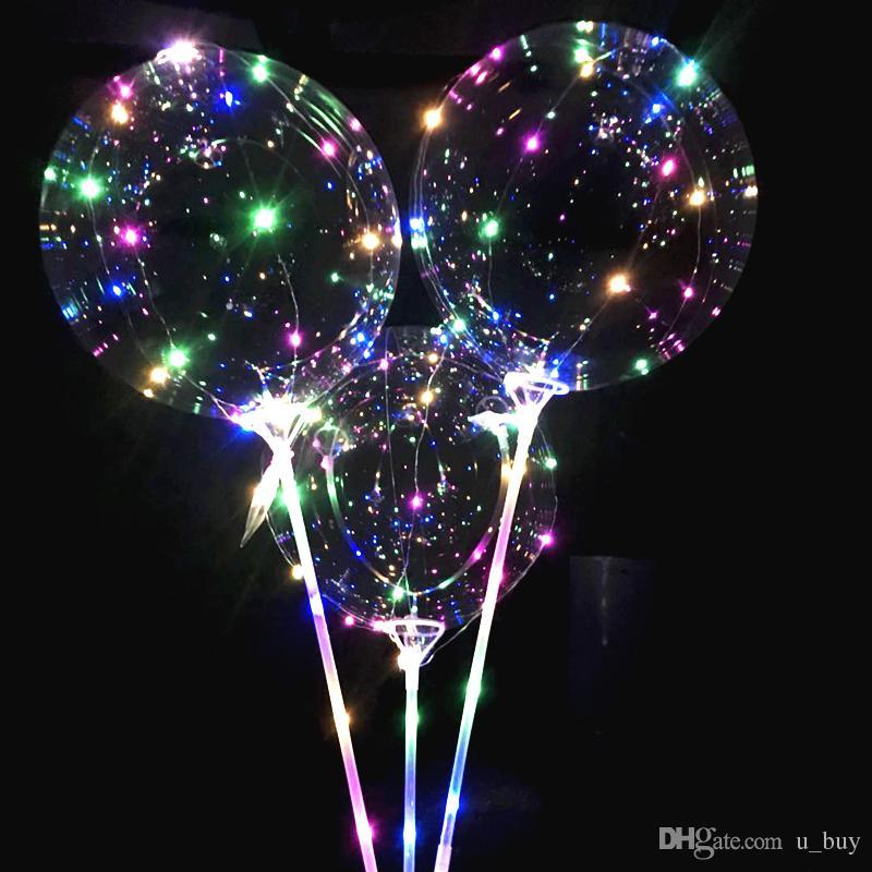 스틱으로 새로운 빛나는 LED 풍선 거대한 밝은 풍선 점등 어린이 키즈 장난감 생일 파티 웨딩 장식