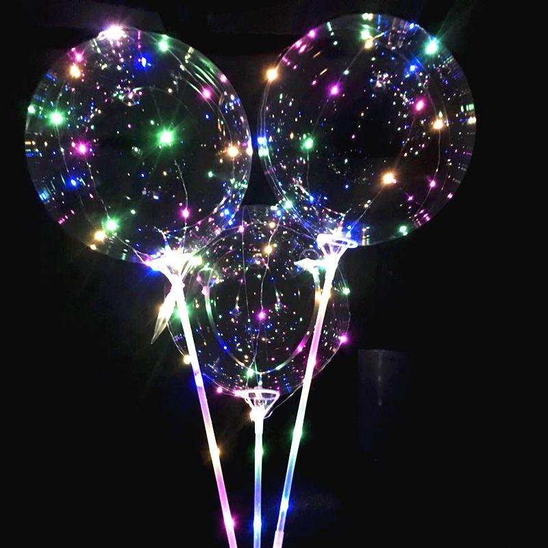 Nuevos globos LED luminosos con palo Globo gigante brillante iluminado globo niños fiesta de cumpleaños decoraciones de la boda