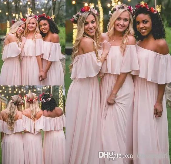 Spring Summer Pink Bohemia Bridesmaid Dresses For Country Wedding 2018 Off Shoulder Chiffon Maid Of Honor Dress Beach Bridesmaid Cheap