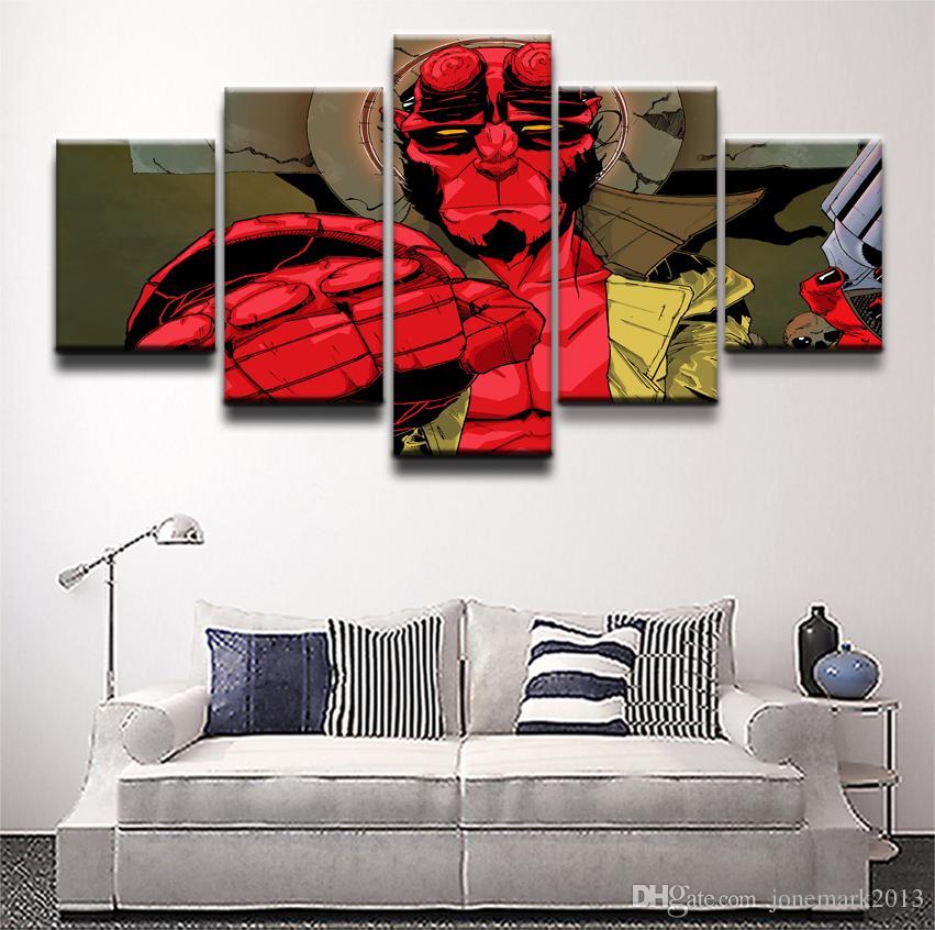 Lona moderna HD Imprime Poster Wall Art Pictures Quadro 5 Peças Comics Hellboy Personagens Pinturas Meninos Quarto Home Decor