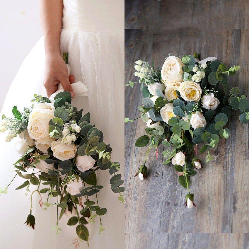 White Flower Wedding Bouquet: Jane Vini Vintage Artificial Bride Flowers Bridal Brooch