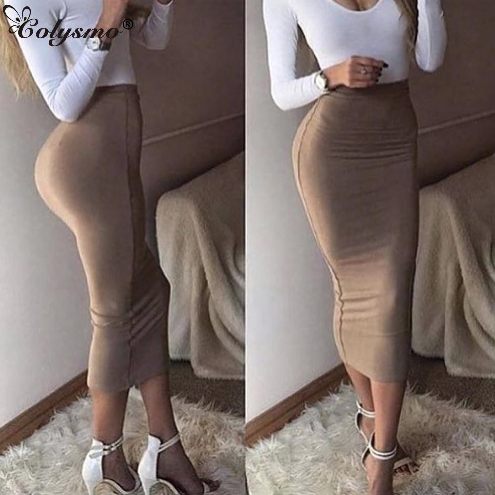 a9a423c90bc66e Colysmo Double Crayon Taille Haute Jupe mi-longue Moulante Longue Jupe En  Coton Maxi Blanc Jupes D été Femme Saia Midi Nouveau