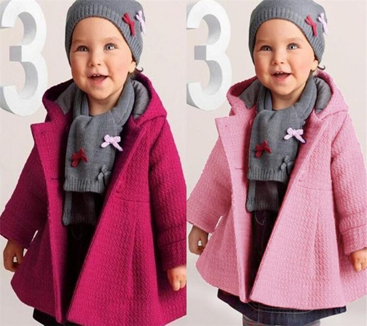 af681885c Baby Girls Fall Winter Horn Button Hooded Coat Warm Wool Blend Pea ...