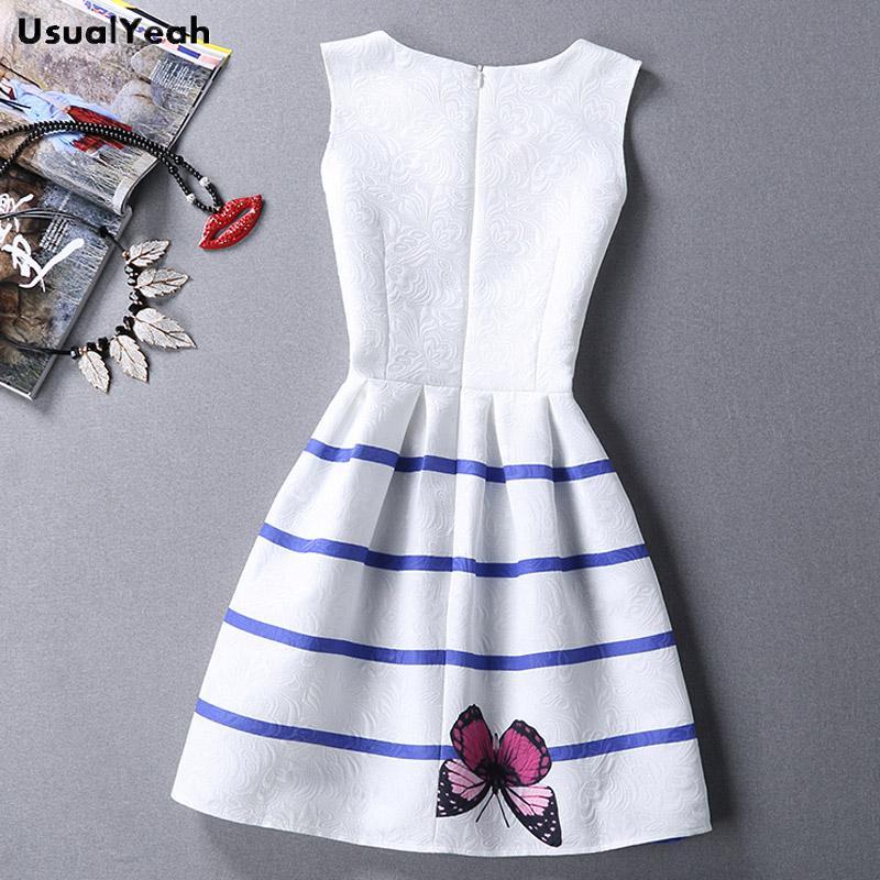2017 Summer Tank Dress Women Butterfly Sleeveless Casual Dresses Vestido de festa Ladies Vintage Digital Print Jacquard Clothing