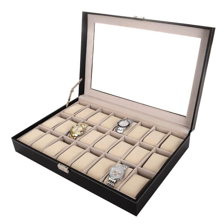 24 Grade Preto PU De Madeira Caixa De Relógio De Pulso Caixa De Exibição De Armazenamento De Jóias Titular Organizador Caso com Janela De Vidro / ctn