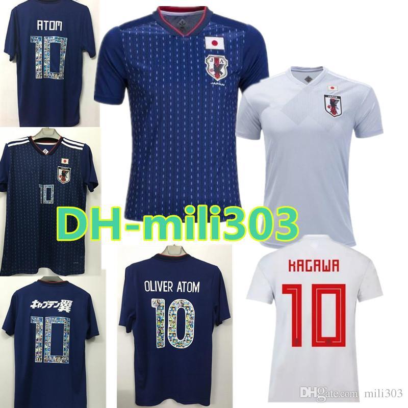 Compre 18 19 Japão Camisa De Futebol 2018 Número De Desenhos Animados  Fontes 10 ATOM Copa Do Mundo Tsubasa KAGAWA OKAZAKI NAGATOMO HASEBE Seleção  Nacional ... 18b1df4babcf7