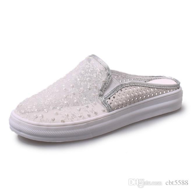 Кружева из шелковой пряжи без каблука женские сандалии дышащие плоские полые ножки педали ленивые тапочки
