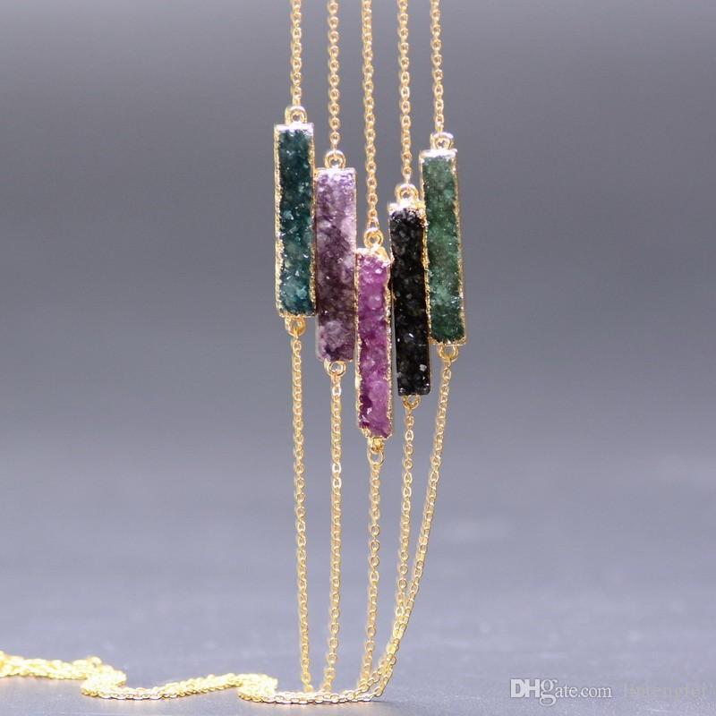 O Couleur Pierre Naturelle Quartz Pendentif Colliers Pour Femmes Rectangle Forme Brute Pierre Minérale Pendentifs Bijoux
