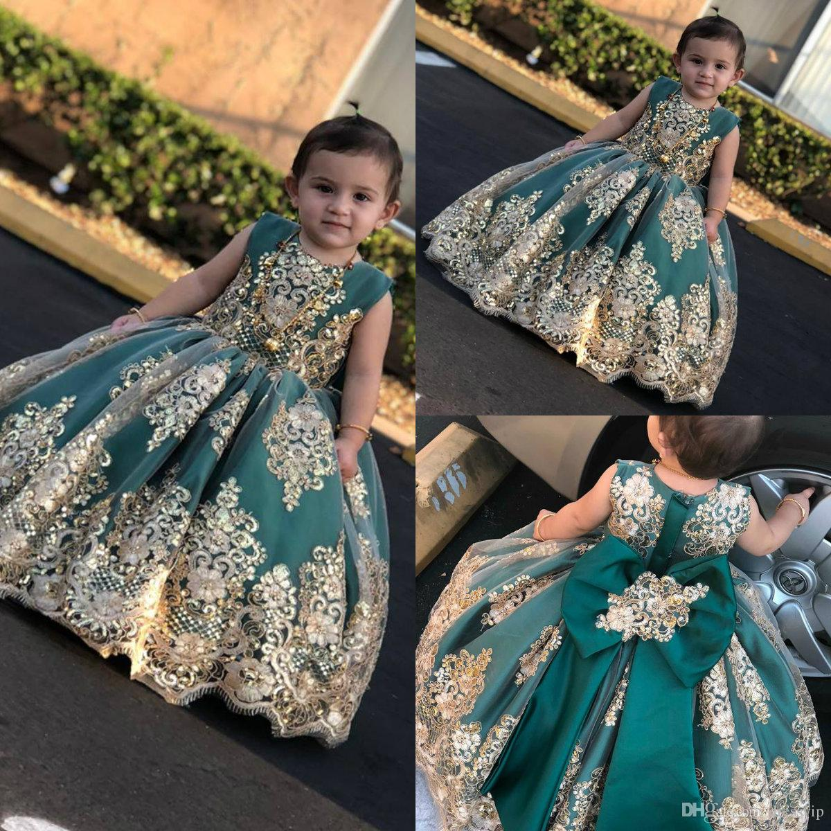 2b2f68049c96f 2019 Little Muse Flower Girl Dresses For Wedding Jewel Neck Lace Gold  Appliqued Sequined Girls Pageant Dress Small Girl Princess Gowns