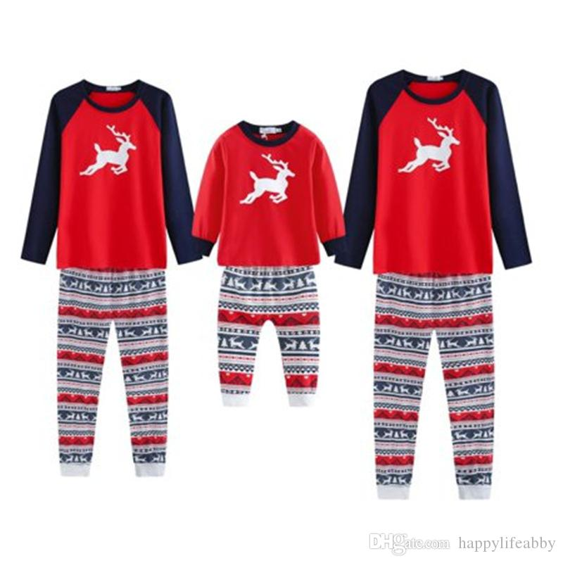 Christmas Reindeer Pajamas Wholesale Cotton Adult Red Shirts Plaid Pants  Stock Blank Nightgown Mom Dad Family Christmas Pajamas Set Devil Costume  Cat ... 771a6573d