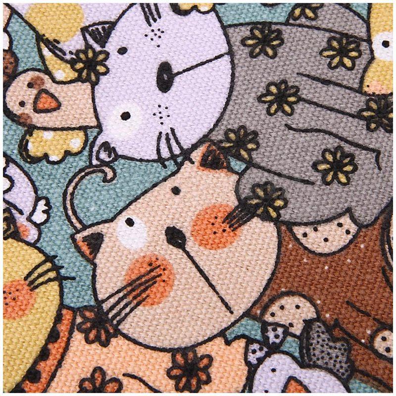 Caja de lápiz 36 Agujero gran cara gato Lienzo de dibujos animados Wrap Roll Up Pencil Case Pen Brush Bag