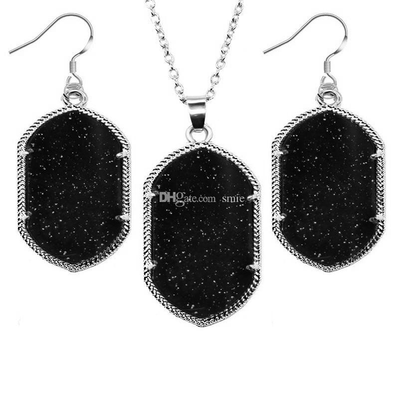 Fashion Geometric Druzy Drusy Earrings Necklace jewelry set Glittery Acrylic Stone Necklace Earrings For Women