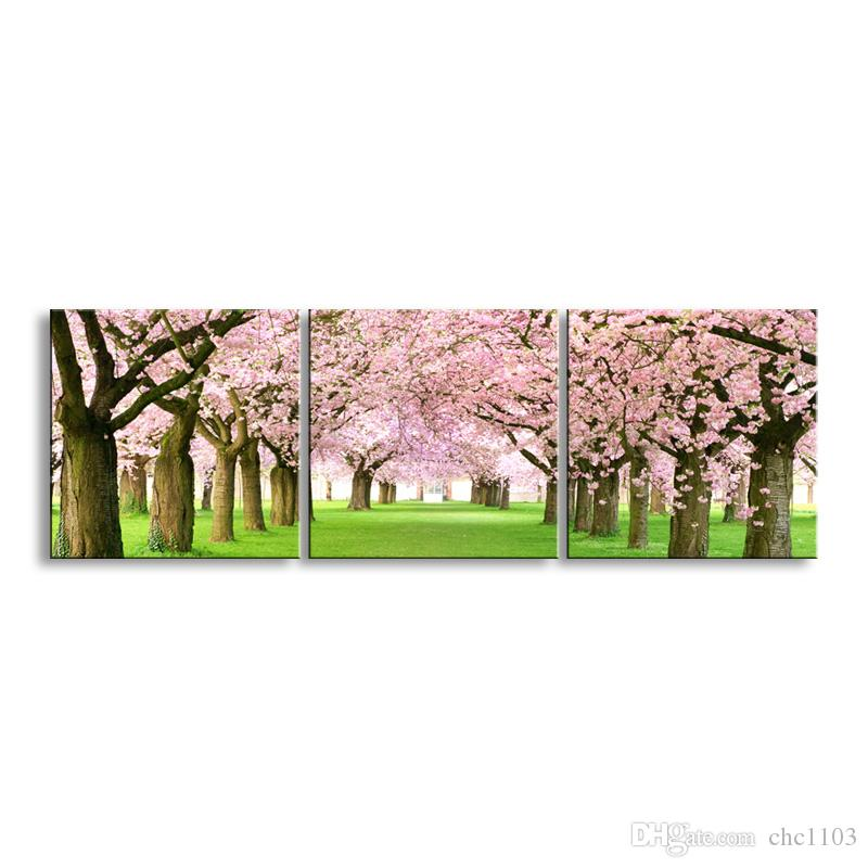 3 pieces high-definition print Cherry blossoms canvas oil painting poster and wall art living room picture YF3-001