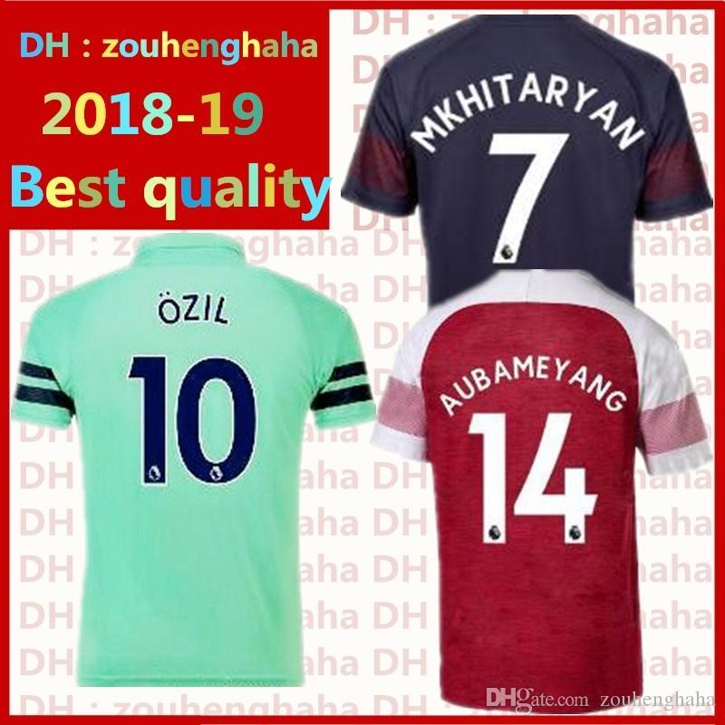 acdab98a Arsenal Soccer Jersey AUBAMEYANG Football Uniform 2018 2019 Home ...