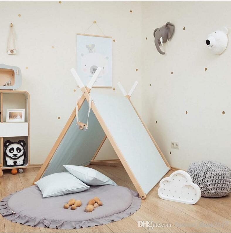Children Baby Game Mat Solid Color Play Crawl Round Mat Cart Air-conditioned Rug Tent Bed Valance Decoration