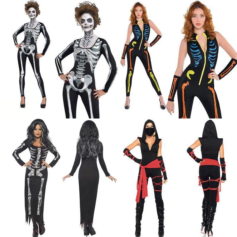 official photos 32df5 a358f Halloween Abbigliamento Donna Ghost Skeleton Tute Carattere Cosplay Bat  Shirt Tuta Signora Abiti Lunghi Per Abiti Da Festa Festival B31