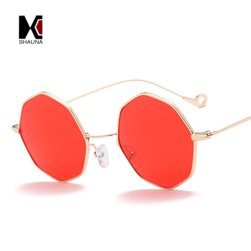 Shauna Fashion Women Octagon Sunglasses Trend Men Metal Frame Square ...