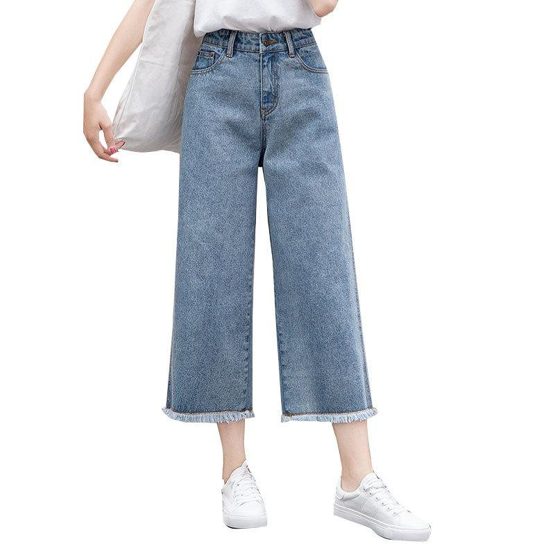 d943529fa5e6 Moda mujer Jeans de cintura alta Pantalones de mezclilla delgados  ocasionales pantalones anchos de pierna ancha Pantalón largo hasta el  tobillo Tallas ...