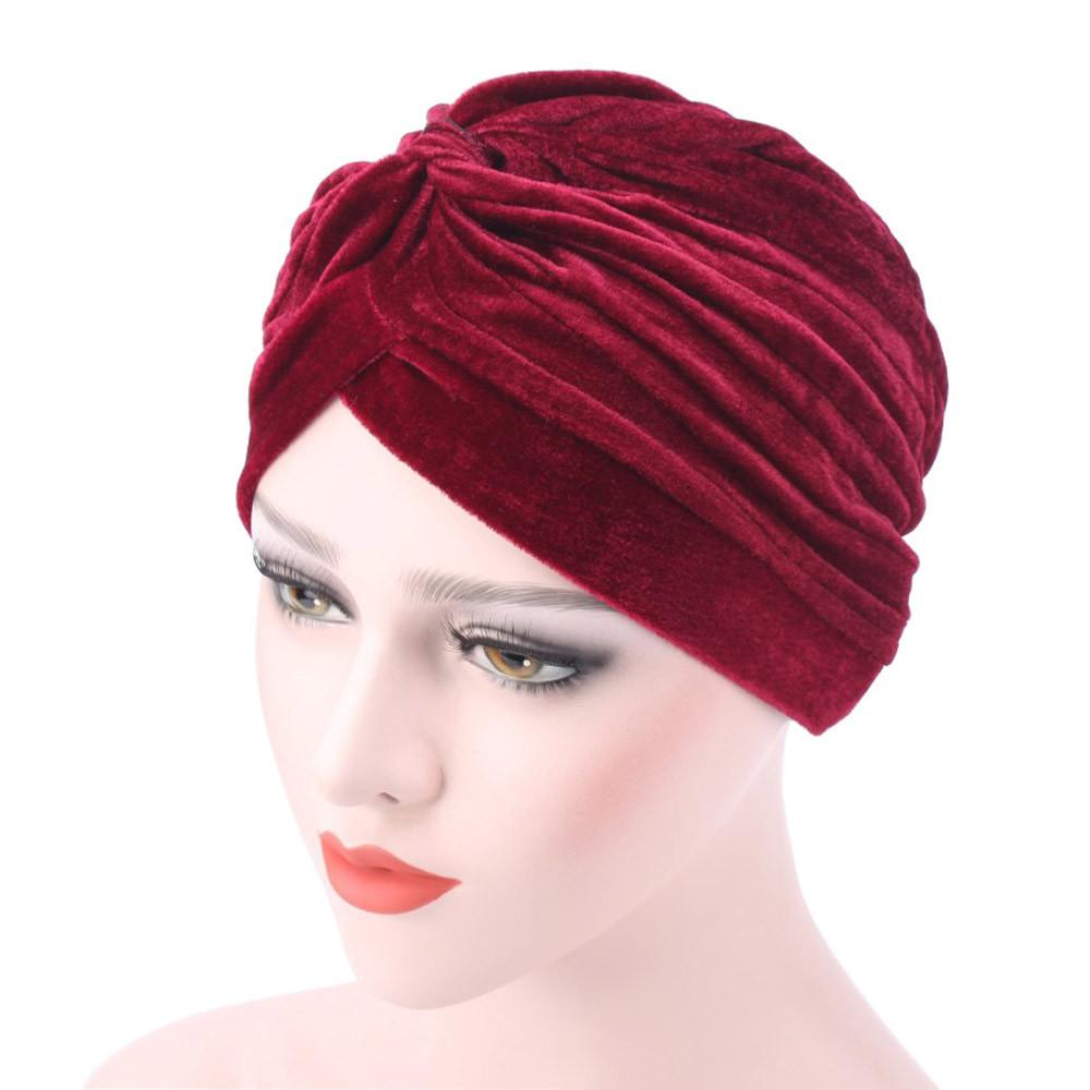 12fa2d63f2c96 2018 Women Hat Ladies Velvet Muslim Ruffle Cancer Chemo Hat Beanie Scarf  Turban Head Wrap Cap Casual Cotton For Women Slouchy Beanie Skull Cap From  ...
