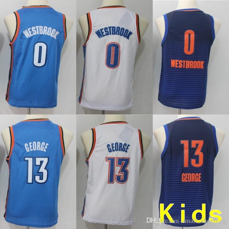 2d4c43b25 Youth Kids Oklahoma City 0 Russell Westbrook Thunders Jersey 13 Paul George  Basketball Stitched Size S-XL Online with $29.2/Piece on Small_shopping's  Store ...