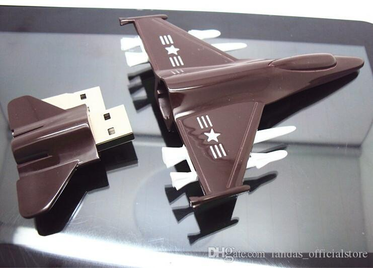 New Metal USB Flash Drive Plane Airplane Model Pendrive 8GB 16GB 32GB 64GB USB 2.0 Memory Stick Handsome Fighter Pen Drive for Home office