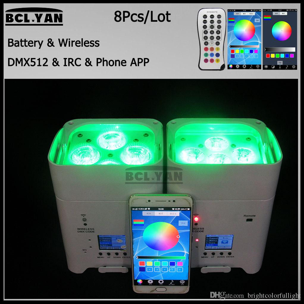 dj lighting background 4/6*18W RGBWAUV 6 in1 wireless DMX battery led par  light uplights IR Remote WIFI Phone control