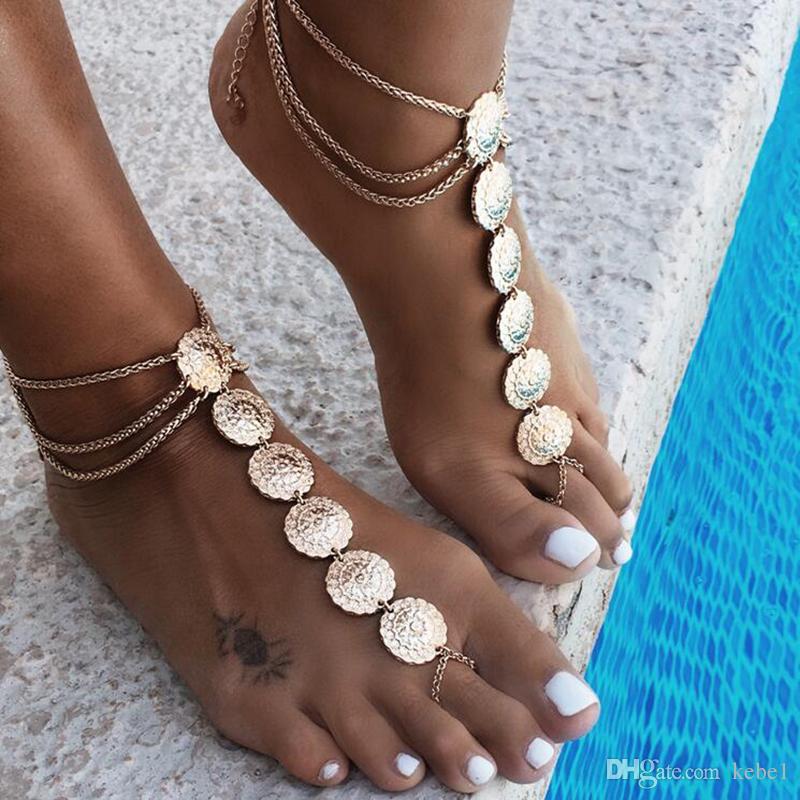 Hot Summer Vintage Tobillo Pulsera Redonda Tallado Monedas de Flores Tobillera Sandalias Descalzas Pie Joyería Tobilleras Para Mujeres A La Playa