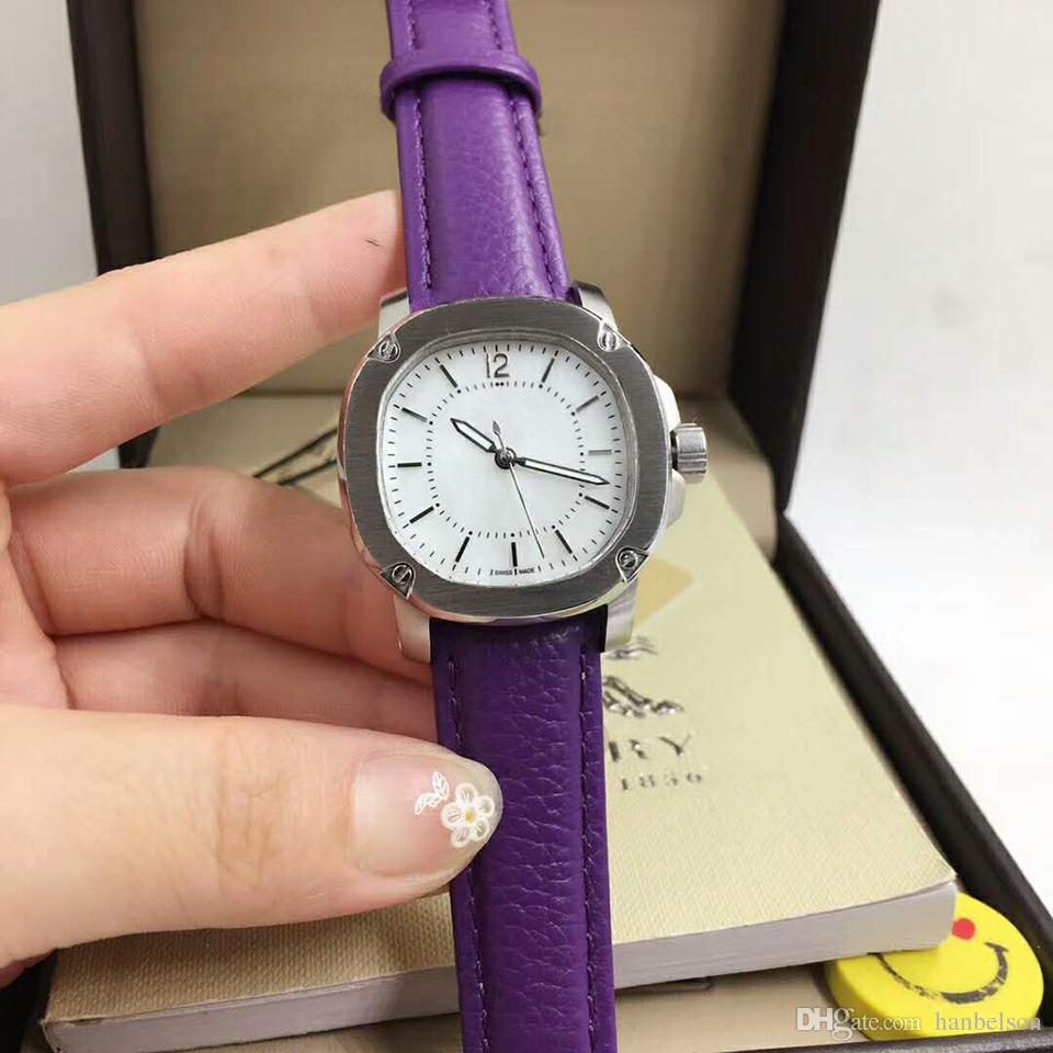 Top Quality Series Women's watch fashion female Quartz three needles Stainless steel shell blue Leather strap B U lady Wrist Watch Wholesale