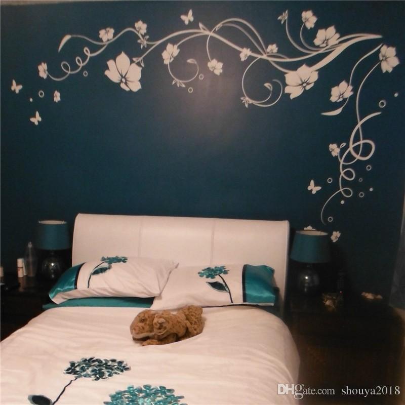 Freies verschiffen J3 Große Schmetterlingsrebe Blume Vinyl Entfernbare Wandaufkleber Baum Wandkunst Aufkleber Wandbild für wohnzimmer Schlafzimmer Wohnkultur