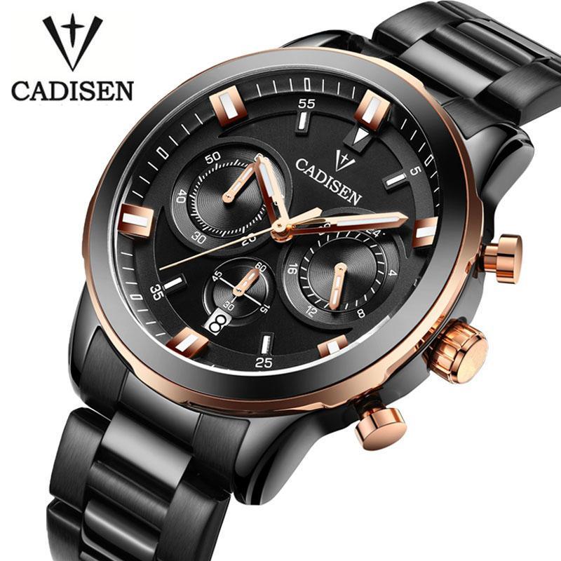 2b9a148043dd CADISEN Watches Men Luxury Chronograph Sport Watch Genuine Leather Quartz Watch  Men Relogio Masculino 2016 Waterproof Wristwatch Wrist Watch Gold Watches  ...