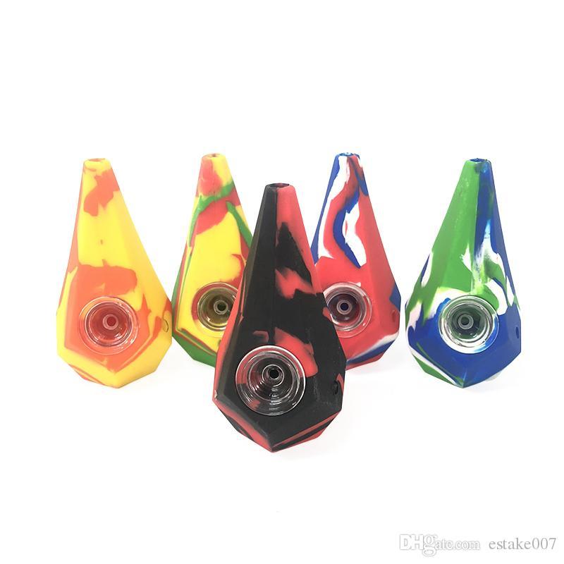Diamond Силиконовые курительные трубки Water Hookah Bong Переносные трубки для рук с миской galss VS закрученное стекло тупым