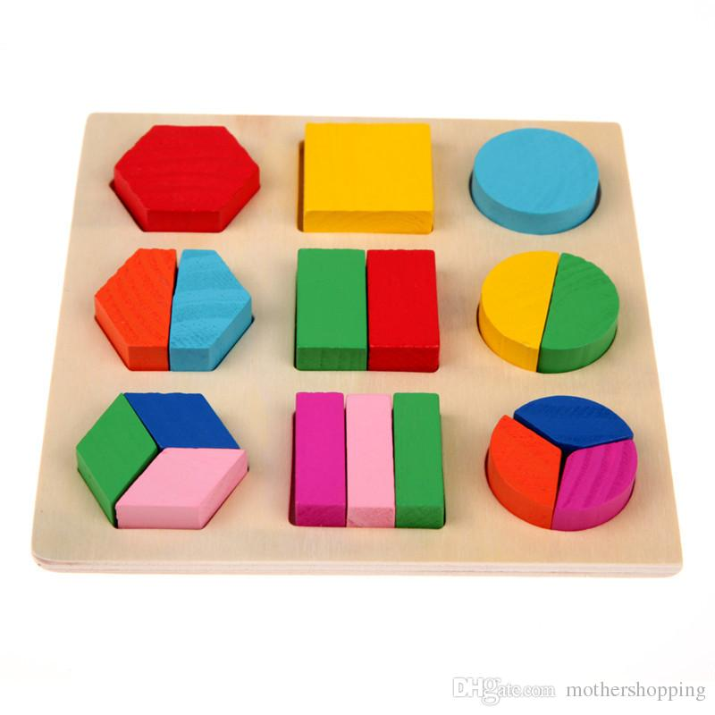 Kids Block Puzzle Baby Wooden Toys Colorful 3D Puzzle Geometry Learning Montessori Educational Toys For Children Wood Toy Puzzles Gift