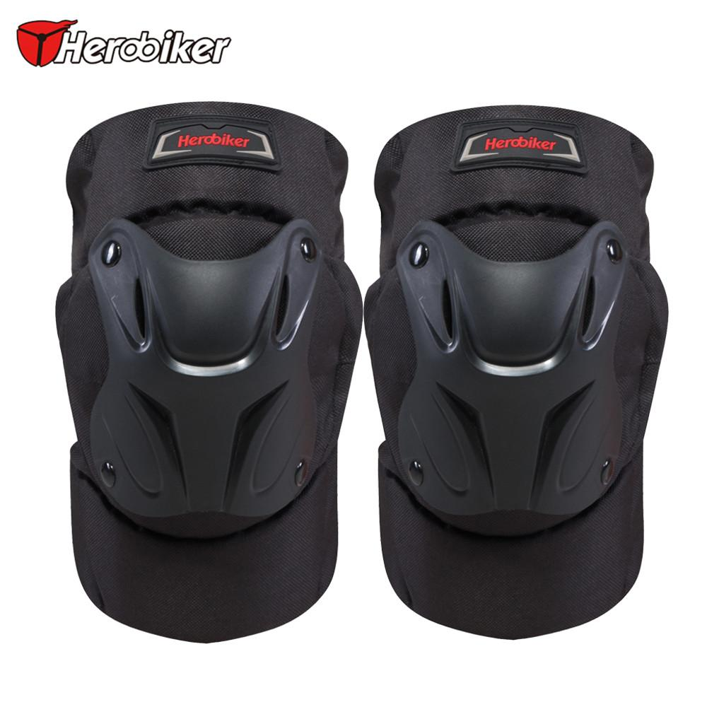 HEROBIKER Black Motorcycle Motocross Kneepads Bike Bicycle Pads Racing ATV Knee Pads Protective Guards Armor Protect Gear