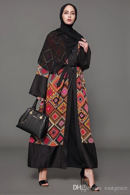 27c4be86809f6 Newest Abayas Coat Long Sleeve Printed Dress Muslim Women dress cardigan  Formal Evening Dresses Kaftan Arabic Dubai Muslim Plus Size Clothes