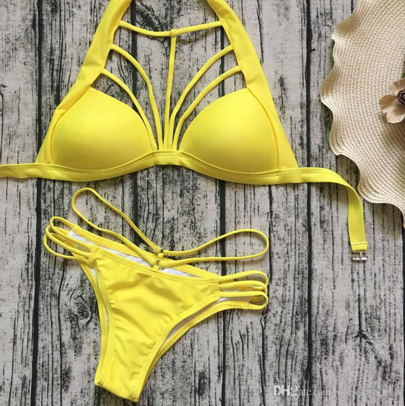 fc2b23391a0 2019 Womens Sexy Yellow Strappy Halter Triangle Bikini Set 2018 T Strap Top  Cutout Waistband Two Piece Swimwear Bathing Suit From Dressprom18