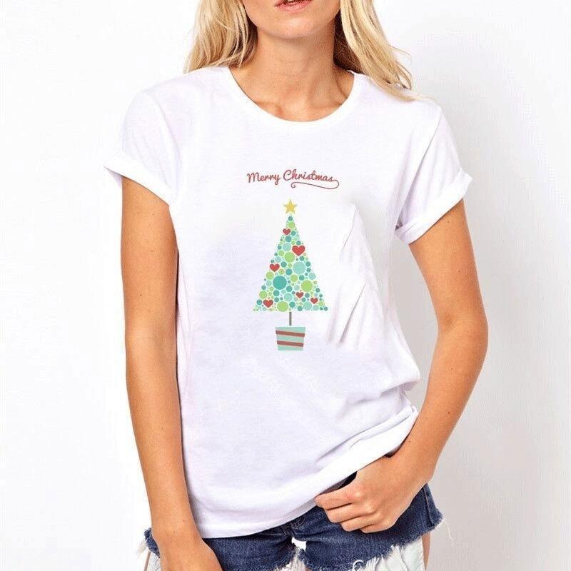 Großhandel Frohe Weihnachten Tops T Shirt Damen Muster Baumwolle 3d ...