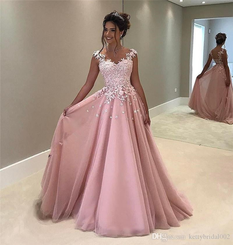 Pink 3d Floral Long Cheap Prom Dresses 2018 A Line Sheer Vintage ...